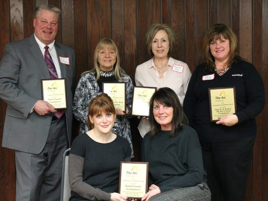 Pictured are those honored with the Community Foundation Awards, front row, from left: Sadoff Family Foundation, Amy and Lacey Sadoff; back row: Stone Family Foundation, Jim Chatterton; FDL Area Foundation, Sandi Roehrig; Agnesian HealthCare Foundation, Michelle Reis; Dale R. & Ruth L. Michels Family Foundation, Sue Kaiser. Not pictured: Green Bay Packer Foundation.