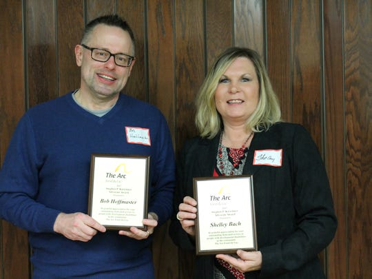 Pictured being honored with the Stephen P. Kirschner Advocate Award are, from left: Bob Hoffmaster and Shelley Bach.