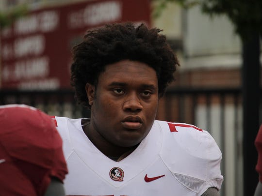 FSU offensive tackle Christian Armstrong.