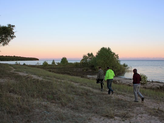 A trail traces the sandy southeastern shore of Rock Island. Hike-in campsites provide direct access to the trail and Lake Michigan.