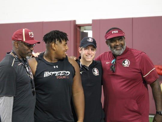 Three-star FSU defensive tackle commit Tru Thompson works out at the FSU Big Man Camp in June 2018.