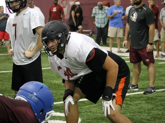 2020 offensive tackle Josh Fryar works out at the FSU Big Man Camp in June 2018.