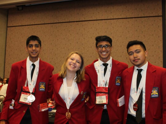 Members of the SCVTHS gold medal winning Health Knowledge Bowl team (l-r) Ruhyak Gupta (Flemington), Julia Garaffa (Skillman), Matthew Abraham (Hillsborough) and Matthew Natividad (Somerset).