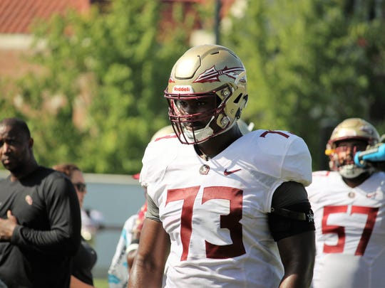 FSU offensive tackle Jauan Williams during practice
