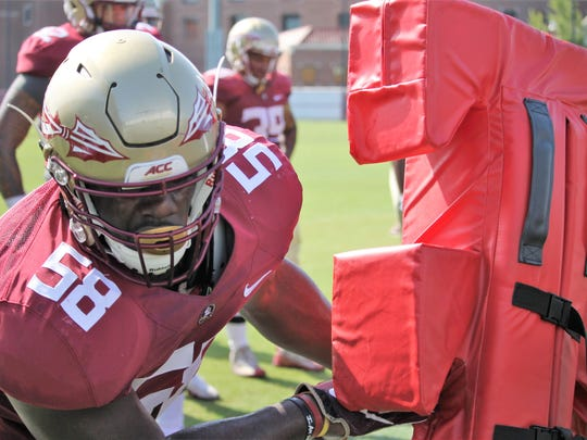 FSU defensive end Dennis Briggs during practice on