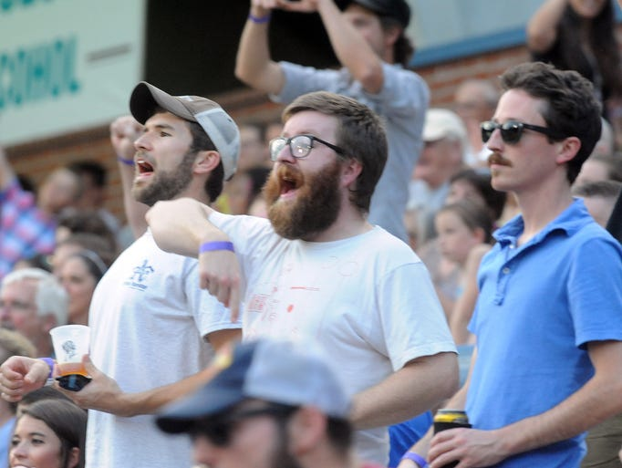 The Asheville Tourists host Virginia Power for Thirsty Thursday at McCormick Field. John Coutlakis 8-7-14