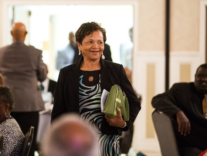Margo Morris walks in to the Modern Maturity Center ballroom for the Delaware Afro-American Sports Hall of Fame induction ceremony in Dover on Saturday night, April 19, 2014. Morris coached at a number of different levels in both boys and girls basketball, and softball, in the Laurel School District.