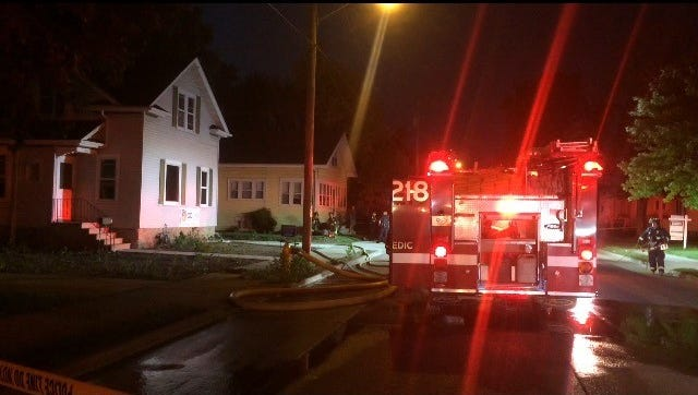 The Oshkosh Fire Department responds to a call about 7:30 p.m. Monday, Sept. 11, 2017, on Bowen Street, between Merritt Avenue and East Parkway Avenue.