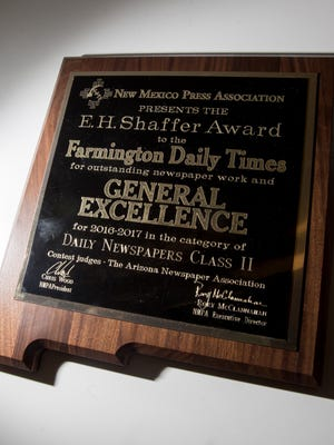 The Daily Times was awarded the General Excellence award in the Daily Newspapers Class II category by the New Mexico Press Association during a ceremony on Saturday in Bernalillo.