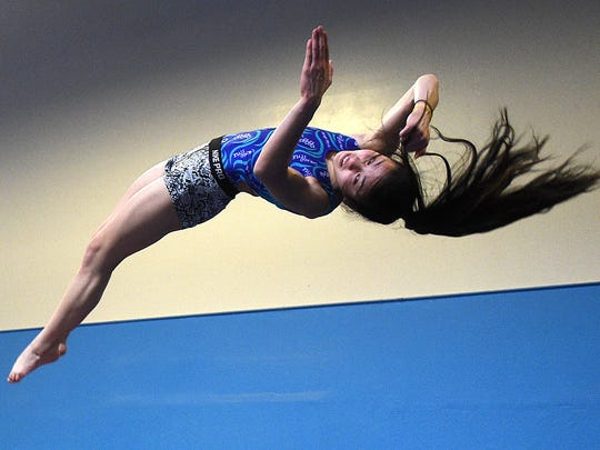 Malia Hargrove performs a maneuver during a practice session at Flips USA Gymnastics in Sparks on April 25.