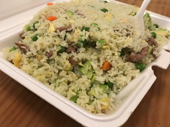 Avocado ginger fried rice with beef from Sally's Kitchen