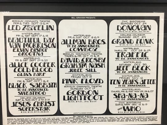 """A 1971 """"Bill Graham Presents"""" poster promoting upcoming"""
