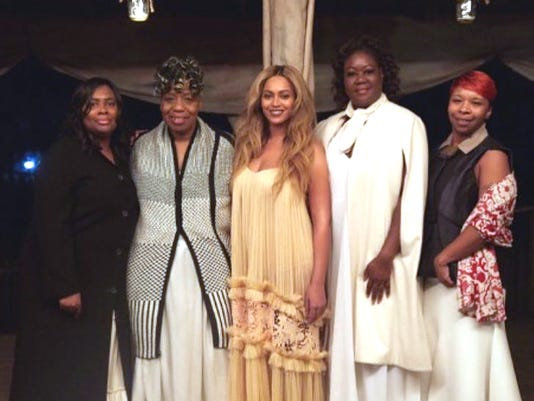 "Mothers of slain sons and Beyonce during ""Lemonade"" scene."