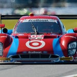The Ford Chip Ganassi Racing Riley DP driven Scott Dixon, Tony Kanaan, Jamie McMurray and Kyle Larson practices Friday for the Rolex 24 at Daytona International Speedway.
