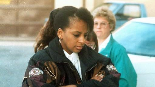 Carolyn Ann King is escorted into a hearing at the Lebanon County courthouse in 2010. Her appearance Tuesday was by videoconference.