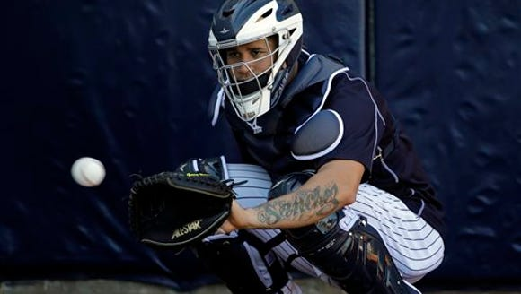 New York Yankees catcher Gary Sanchez prepares to catch