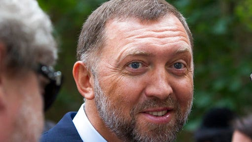 FILE - In this July 2, 2015 file photo, Russian metals magnate Oleg Deripaska is seen in Moscow, Russia. Deripaska says he is willing to take part in U.S. congressional hearings to discuss his relationship with President Donald Trump's former campaign chairman, Paul Manafort.