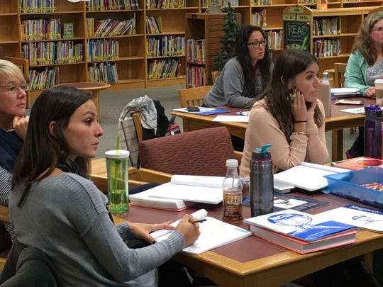 """On Oct. 11th, the Kindergarten, 1st, and 2nd grade teachers of Watchung Borough school district participated in a professional development course. The course, Fundations, is a phonics awareness program that has been introduced at Bayberry to give the younger students an even stronger foundation in the areas of phonics and literacy."""" Left to right: Judy Wall, first grade; Alexis D'Annunzio, first grade; Krystle Cianci, kindergarten;Jamie Waryn, first grade; and Rachel Tolomeo, kindergarten."""