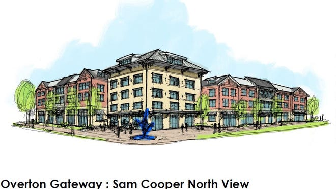 Rendering of northeast corner of Overton Gateway