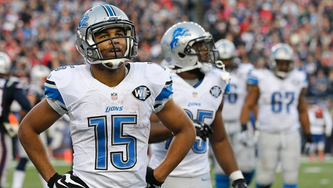 Golden Tate of the Detroit Lions plays against the New England Patriots at Gillette Stadium on Nov. 23, 2014, in Foxboro, Massachusetts.