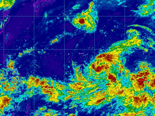 Tropical Storm Soudelor will bring winds and rain to Guam as it continues to track north of Saipan late today or early Monday.