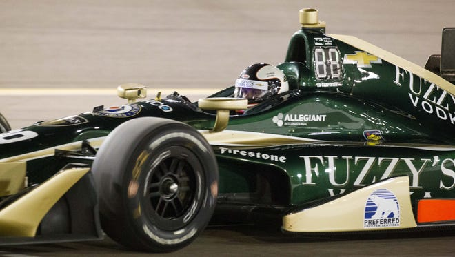 Spencer Pigot drives during qualifiers for the Desert Diamond West Valley Phoenix Grand Prix at Phoenix International Raceway in Avondale on Friday, April 28, 2017.