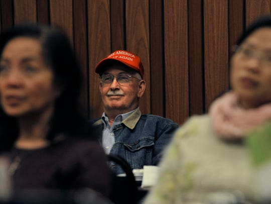 Winston Ohlhausen watches President Donald Trump deliver