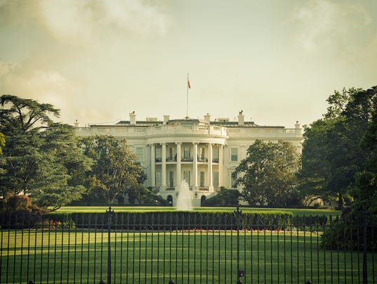 The White House in Washington DC with vintage processing