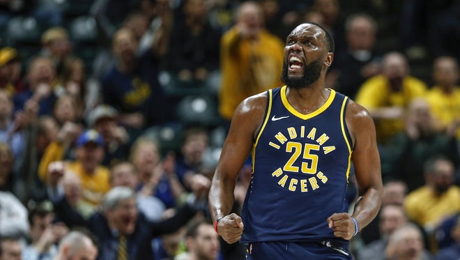 Indiana Pacers center Al Jefferson (25) gets a shot to fall and draws the foul against the Washington Wizards at Bankers Life Fieldhouse on Monday, Feb. 5, 2018.