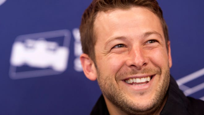 Andretti Racing driver Marco Andretti gets a kick out of a question during media day for the drivers of the 101st Indianapolis 500 Thursday, May 25, 2017, afternoon at the Indianapolis Motor Speedway.