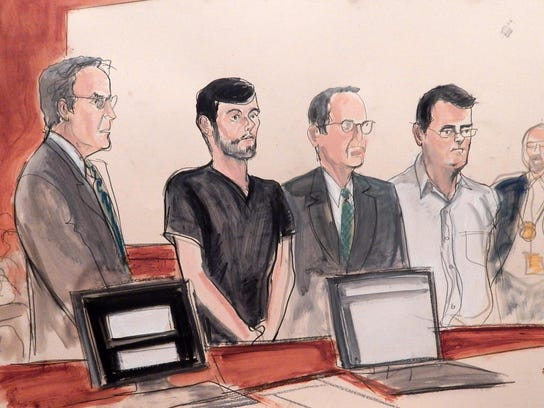 In this courtroom sketch, entrepreneur and former hedge