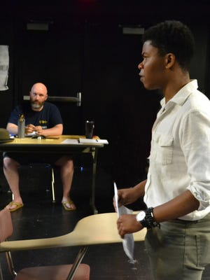"Director Mike Sherman rehearses with Kaleb Kemp for the Commonwealth Artists Student Theatre's (CAST) production of Theresa Rebeck's ""O, Beautiful."" The production runs June 20-July 8 st The Carnegie in Covington."