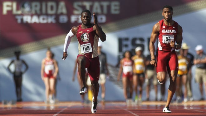 FSU's Edward Clarke races to a 100-meter dash win at the 2017 FSU Relays. Clarke recently won an ACC Indoor 60-meter title.