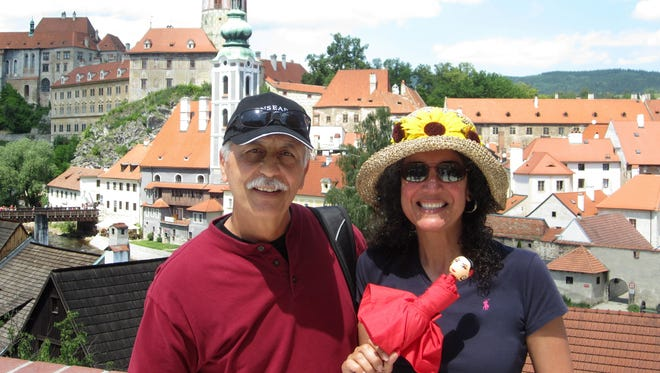George and Alexandra Kinias, of Scottsdale, during their visit to the town of Chesky Krumlov in the Czech Republic.