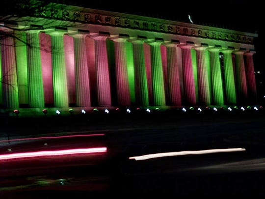 The Parthenon at Centennial Park in Nashville will be lit with red and green lights Dec. 1 through Christmas.