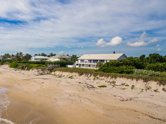 Beach view of the Indian River Shores house at 908