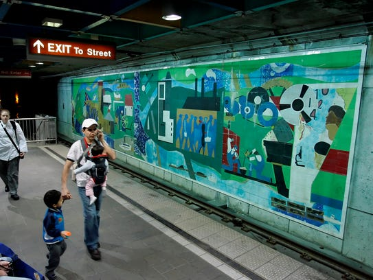 A 60 x 13 ft. mural by Romare Bearden is displayed