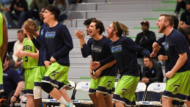 Providence men's basketball players celebrate last season.