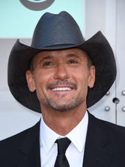 Tim McGraw arrives at the 51st annual Academy of Country Music Awards at the MGM Grand Garden Arena on Sunday, April 3, 2016, in Las Vegas.