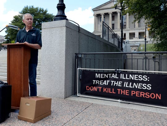 Charles Strobel speaks against the death penalty and