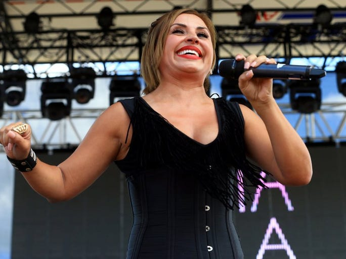 Elida Reyna performs during the second day of Fiesta de la Flor on Saturday, May 7, 2016, in Corpus Christi.