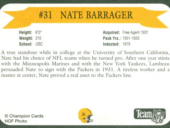 Packers Hall of Fame player Nate Barragar
