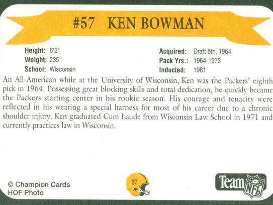 Packers Hall of Fame player Ken Bowman