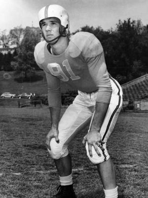 Doug Atkins, defensive end at University of Tennessee in his junior year in 1951. He was an All-American for the Vols and later played for the Chicago Bears in the NFL.