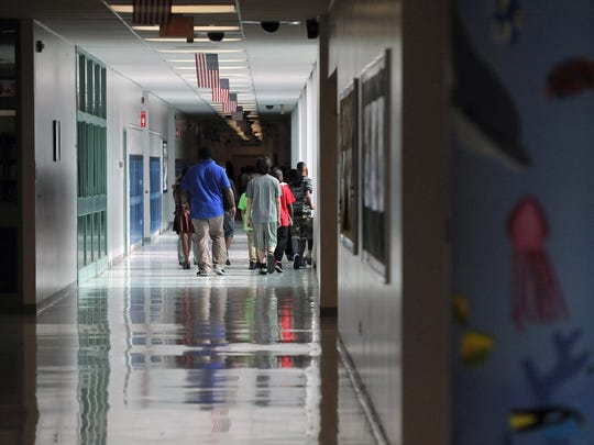 Sixth-grade students tour the halls of Lakeside Middle