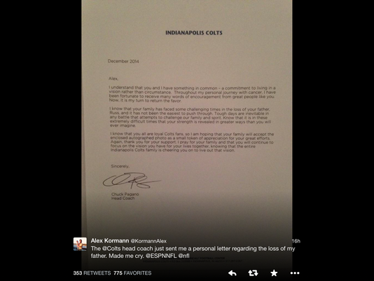 Chuck Pagano comforts fan with letter