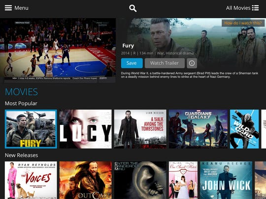 A screenshot of the new Sling TV service on a tablet