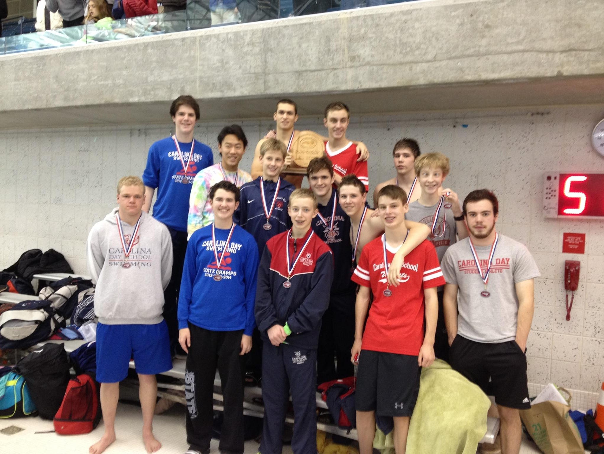 The Carolina Day boys swim team placed second at Monday's NCISAA 1-A/2-A meet in Greensboro.