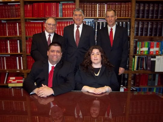 """Gebhardt & Kiefer attorneys, top left to right, John Manfreda, Richard Cushing, and William Goodwin Jr. are on the """"2015 NJ Super Lawyers"""" list, and, bottom left to right, Daniel Makoski and Diana Fredericks are on the """"2015 NJ Super Lawyers Rising Stars"""" list."""