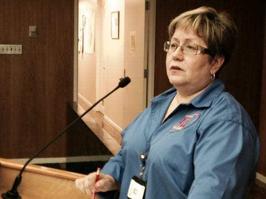 Sonya Wiley-Gremillion, director of Rapides Parish Homeland Security & Emergency Preparedness, updates the Police Jury on the flooding situation in Rapides Parish on Monday.